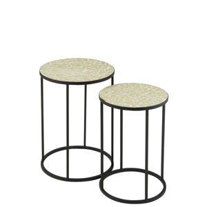 2ks kovový černý stolek s mozaikou Shard Yellow - ∅ 35,5*49 cm