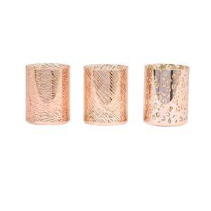 3ks růžovo-zlatý skleněný svícen Penza - Ø 8*10 cm
