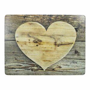 4ks pevné korkové prostírání dřevěné srdce Wooden heart - 30*40*0,4cm