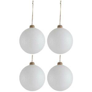 4ks vánoční bílá skleněná ozdoba se stříbrnými glitry - Ø 12cm