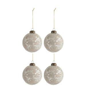 4ks vánoční stříbrno-oříšková skleněná ozdoba - Ø 8 cm
