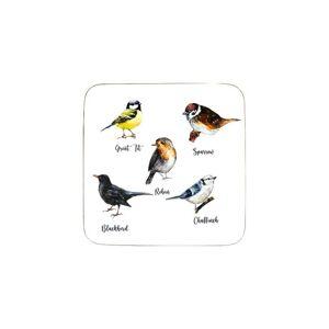 6ks pevné korkové podtácky ptáčci Garden birds  - 10*10*0,4cm