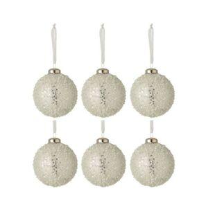 6ks vánoční stříbrná skleněná ozdoba s bílými korálky - Ø 8 cm J-Line by Jolipa