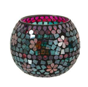 Barevný skleněný svícen na čajovou svíčku Mosaic - Ø17,5*13,5cm J-Line