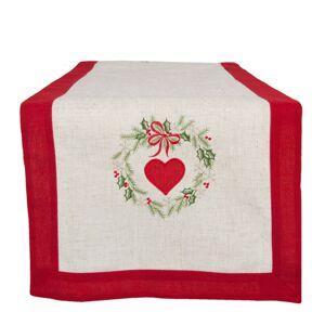 Běhoun na stůl vánoční srdce - 40*120 cm Clayre & Eef