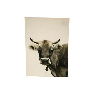 Béžová bavlněná utěrka s motivem švýcarské krávy - 70*50cm