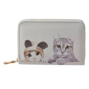 Béžová peněženka s kočkami - 9*14 cm