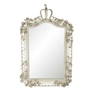 Béžové zrcadlo s ozdobným rámem ve vintage stylu - 63*6*102 cm