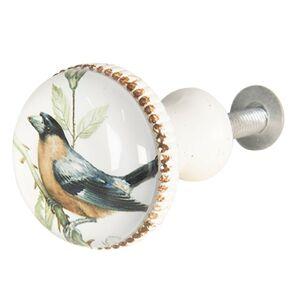 Bílá kovová úchytka s ptáčkem I - Ø 3*6 cm Clayre & Eef