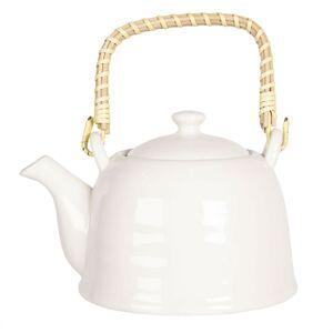 Bílá porcelánová konvička na čaj - 17*12*10 cm / 0,6L