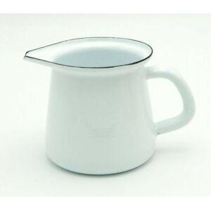 Bílá smaltovaná mlékovka White blue -11,5cm - 0.4L