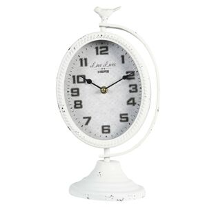 Bílé vintage hodiny s ptáčkem a patinou - 19*14*34 cm / 1*AA