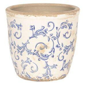 Bílý keramický květináč s modrými ornamenty - Ø 12*12 cm Clayre & Eef