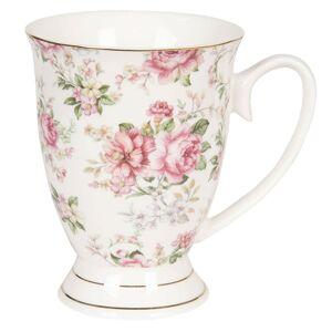Bílý květovaný hrneček Garden - 11*8*10 cm / 0,3L Clayre & Eef