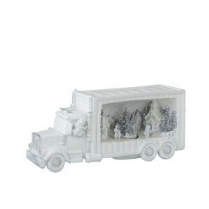 Bílý svítící vánoční kamion -  31*10*14cm J-Line