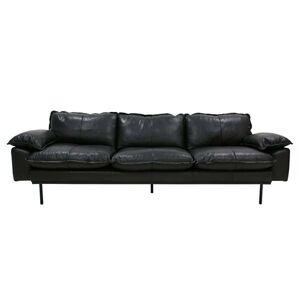 Černá 4-místná kožená pohovka Retro - 245*83*95 cm HKLIVING