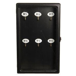 Černá dřevěná skříňka na klíče- 24*7*38 cm Clayre & Eef