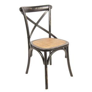 Černá dřevěná židle s patinou Retro- 46*42*87 cm Clayre & Eef