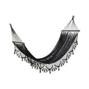 Černá háčkovaná bavlněná hammaka Crochet  - 220*77 cm J-Line