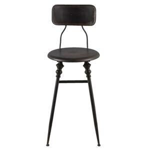 Černá kovová barová židle s patinou - 35*40*88 cm Clayre & Eef