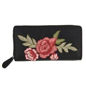 Černá peněženka Rose embroidery - 19*9 cm Juleeze