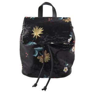 Černý batoh s flitry Flower - 24*16*28 cm Juleeze