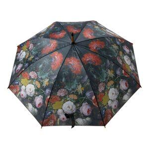 Černý deštník s květy Jan Davidsz - Ø105*88cm