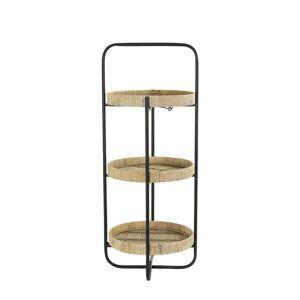 Černý kovový 2 patrový etažér s bambusovými podnosy Lorena - Ø 37*89cm