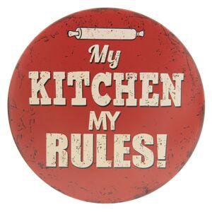 Červená plechová cedule Kitchen - ∅ 30 cm