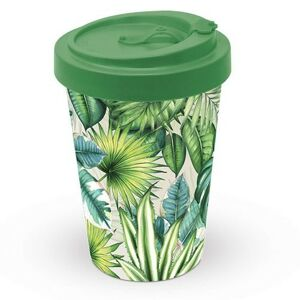 Cestovní bambusový termohrnek Tropical Leaves - 400ml Design At Home