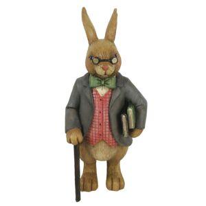 Dekorace děda králík s hůlkou a knihami - 8*8*19 cm