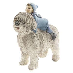 Dekorace dítě se psem -  16*7*17 cm
