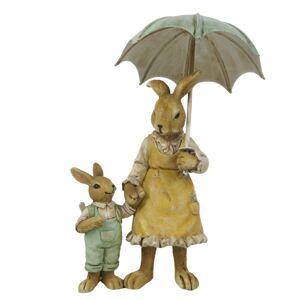 Dekorace dvou králíků pod deštníkem - 9*4*13 cm