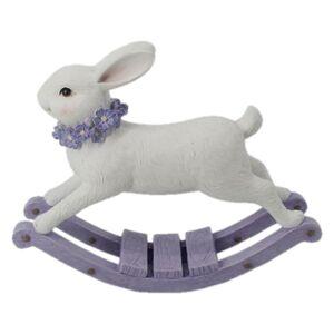Dekorace houpací králík s květy okolo krku - 20*6*16 cm
