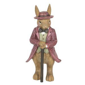 Dekorace králíka v kabátu s hůlkou - 8*8*19 cm