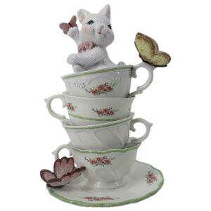 Dekorace králíka v porcelánových šálcích s motýly - 13*13*20 cm