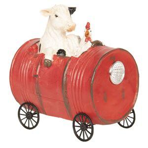 Dekorace kráva a kuře v sudu - 13*9*14 cm