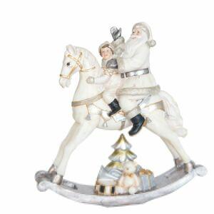 Dekorace Santa na houpacím koni I - 29*10*30cm Clayre & Eef