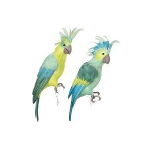 Dekorace zelený papoušek 2ks - 46*13*14cm J-Line