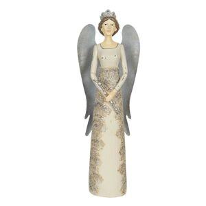 Dekorační anděl s plechovými křídly - 13*11*41 cm