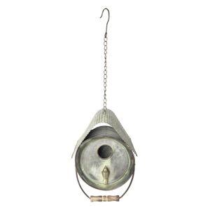 Dekorační plechová ptačí budka - 20*20*26/59 cm