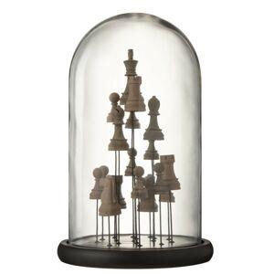 Dekorační podnos se skleněným poklopem Šachy - Ø 23*37,5 cm