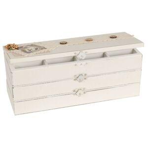 Dřevěná 3-patrová šperkovnice s ozdobou - 27*10*10cm Clayre & Eef