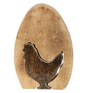 Dřevěná dekorace vejce s motivem slepičky - 20*14*2 cm Clayre & Eef