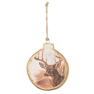 Dřevěná ozdoba koule s Jelenem - 8*1*9 cm