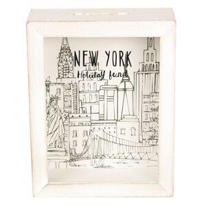 Dřevěná pokladnička New York - 16*20*7 cm
