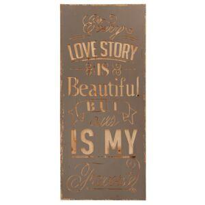Dřevěná cedule Love story - 33*2*78 cm Clayre & Eef