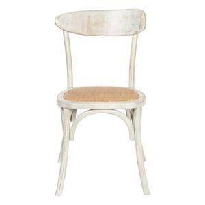 Dřevěná židle s patinou a ratanovým sedákem - 46*42*85 cm Clayre & Eef