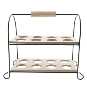 Dřevěno-kovový stojan na vajíčka 16ks - 21*11*20 cm