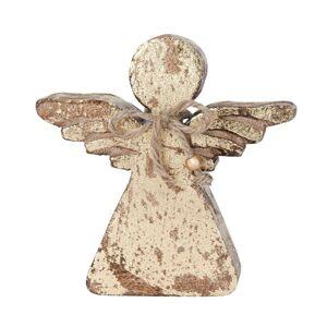 Dřevěný anděl pozlacený - 14*4*14 cm Clayre & Eef